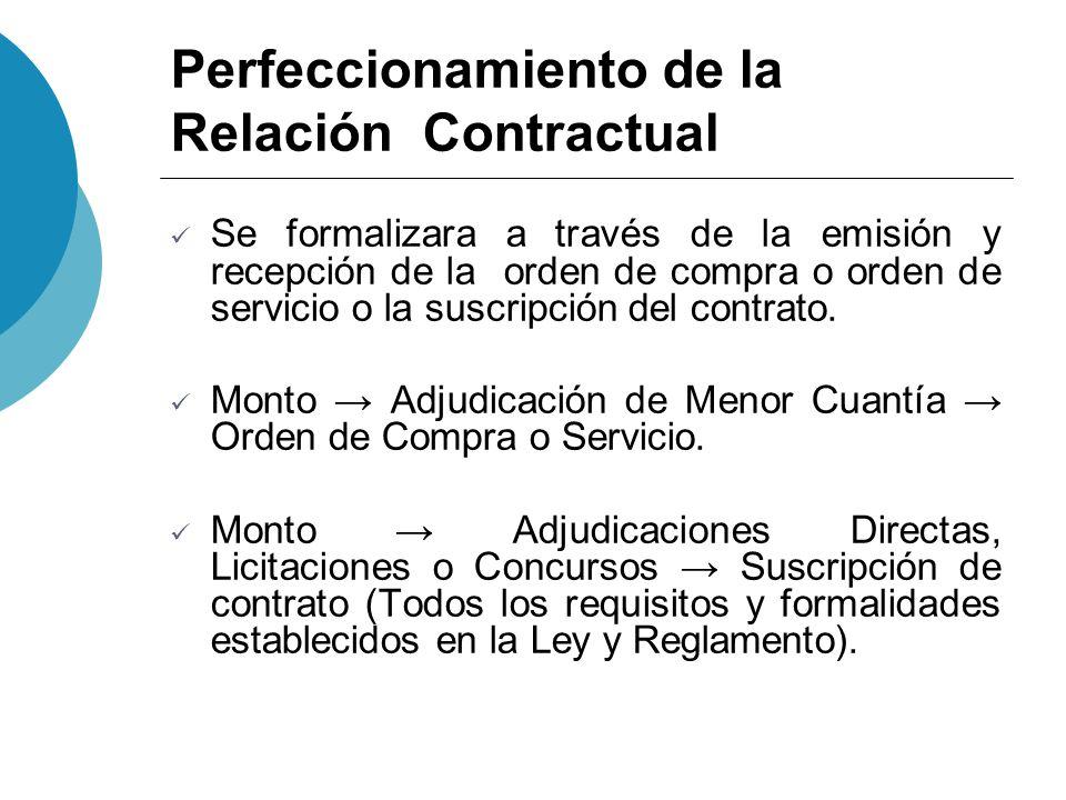 Perfeccionamiento de la Relación Contractual