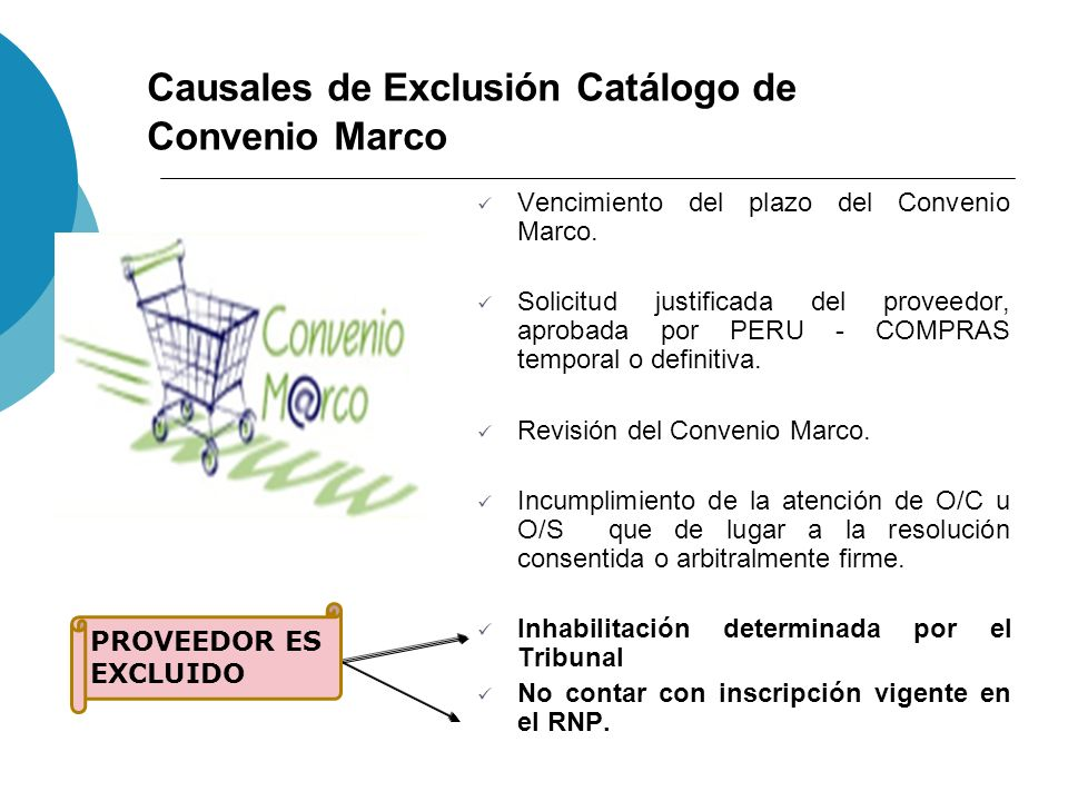 Causales de Exclusión Catálogo de Convenio Marco