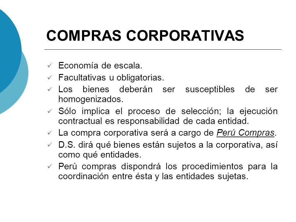 COMPRAS CORPORATIVAS Economía de escala. Facultativas u obligatorias.