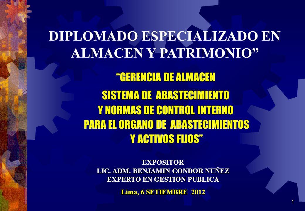 DIPLOMADO ESPECIALIZADO EN ALMACEN Y PATRIMONIO