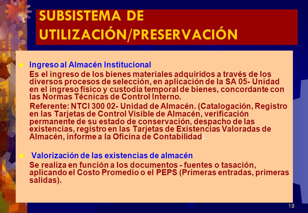 SUBSISTEMA DE UTILIZACIÓN/PRESERVACIÓN