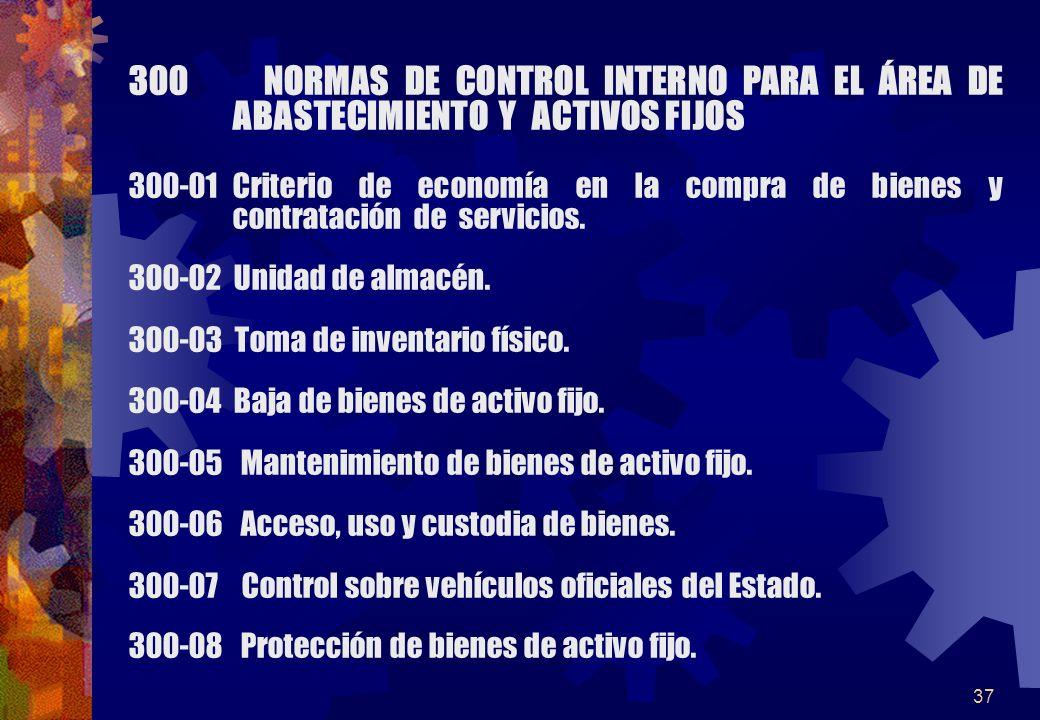 300 NORMAS DE CONTROL INTERNO PARA EL ÁREA DE ABASTECIMIENTO Y ACTIVOS FIJOS