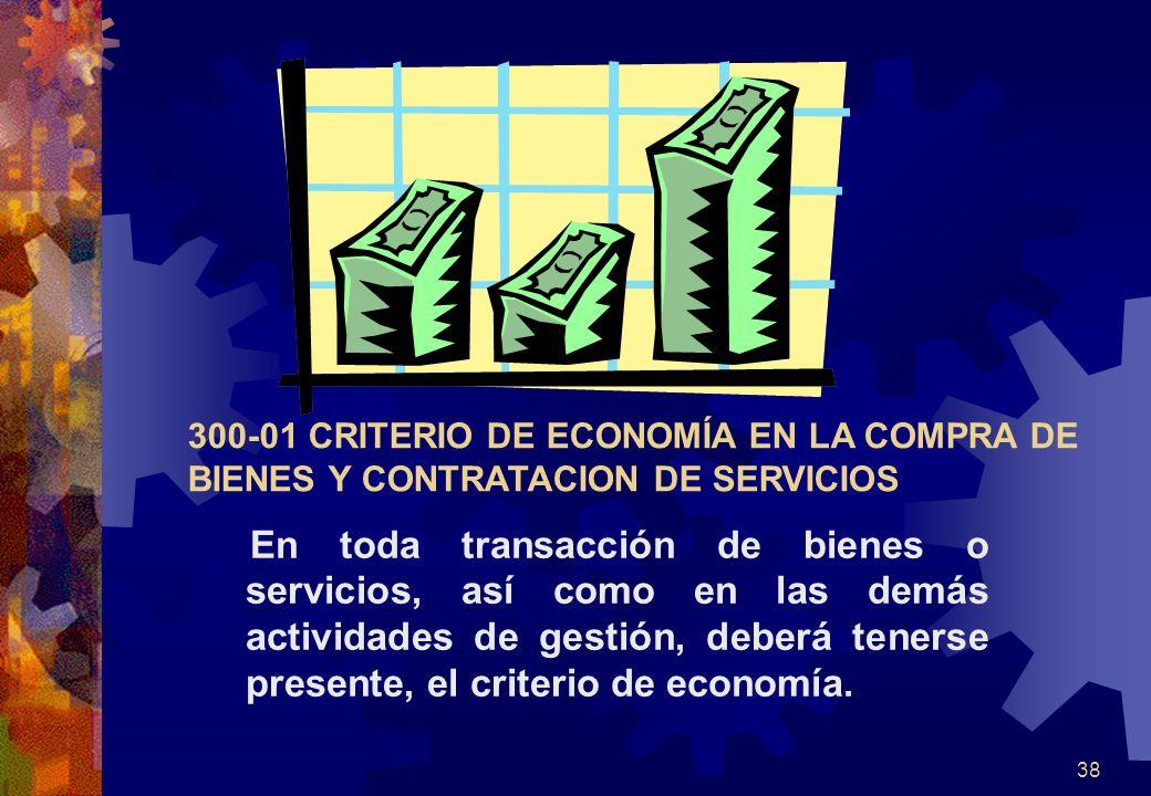 300-01 CRITERIO DE ECONOMÍA EN LA COMPRA DE BIENES Y CONTRATACION DE SERVICIOS