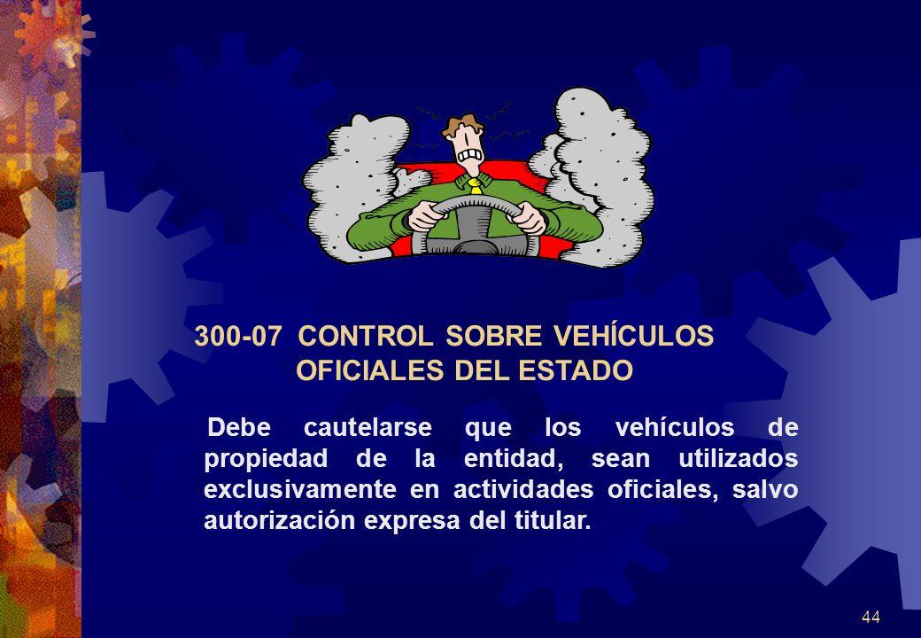 300-07 CONTROL SOBRE VEHÍCULOS OFICIALES DEL ESTADO