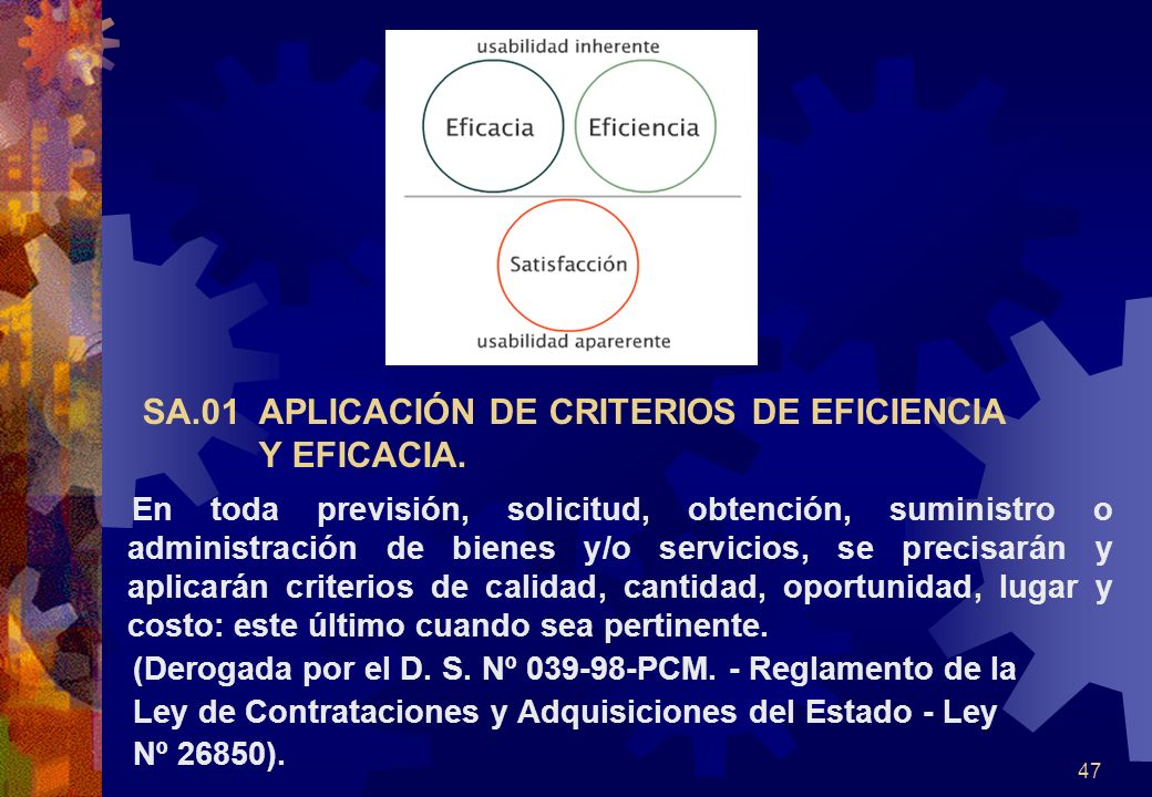 SA.01 APLICACIÓN DE CRITERIOS DE EFICIENCIA Y EFICACIA.
