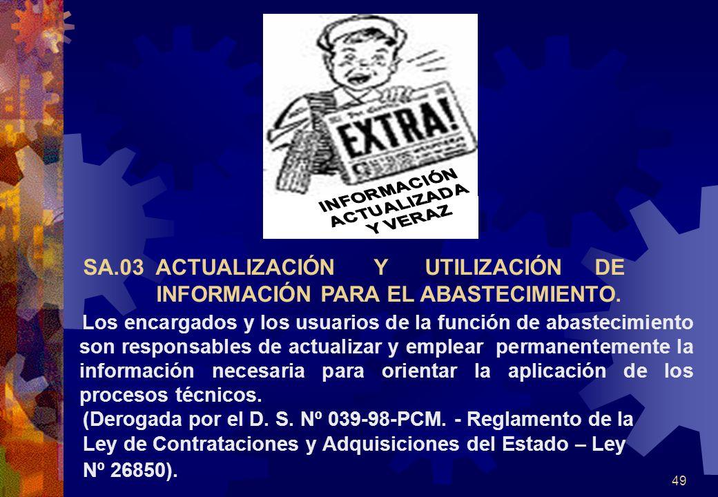 INFORMACIÓN ACTUALIZADA. Y VERAZ. SA.03 ACTUALIZACIÓN Y UTILIZACIÓN DE INFORMACIÓN PARA EL ABASTECIMIENTO.