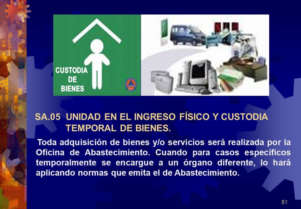 SA.05 UNIDAD EN EL INGRESO FÍSICO Y CUSTODIA TEMPORAL DE BIENES.