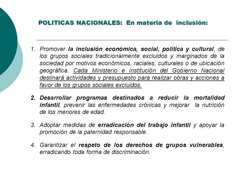 POLITICAS NACIONALES: En materia de inclusión: