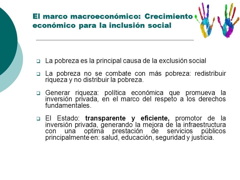 El marco macroeconómico: Crecimiento económico para la inclusión social