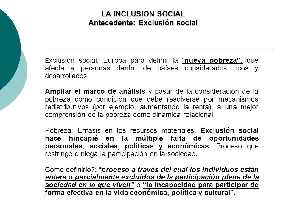 LA INCLUSION SOCIAL Antecedente: Exclusión social