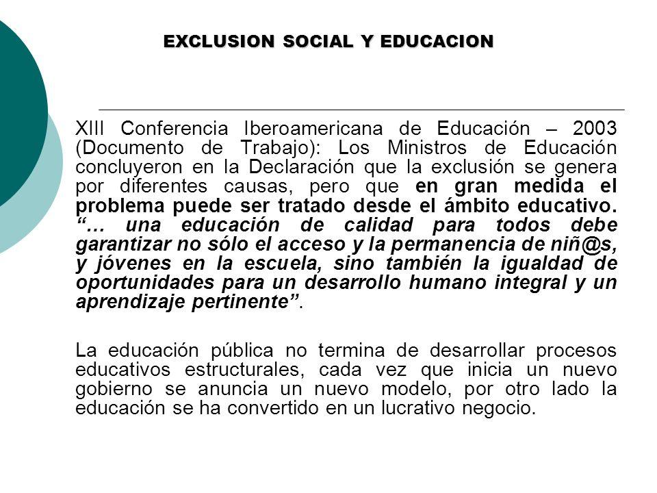 EXCLUSION SOCIAL Y EDUCACION