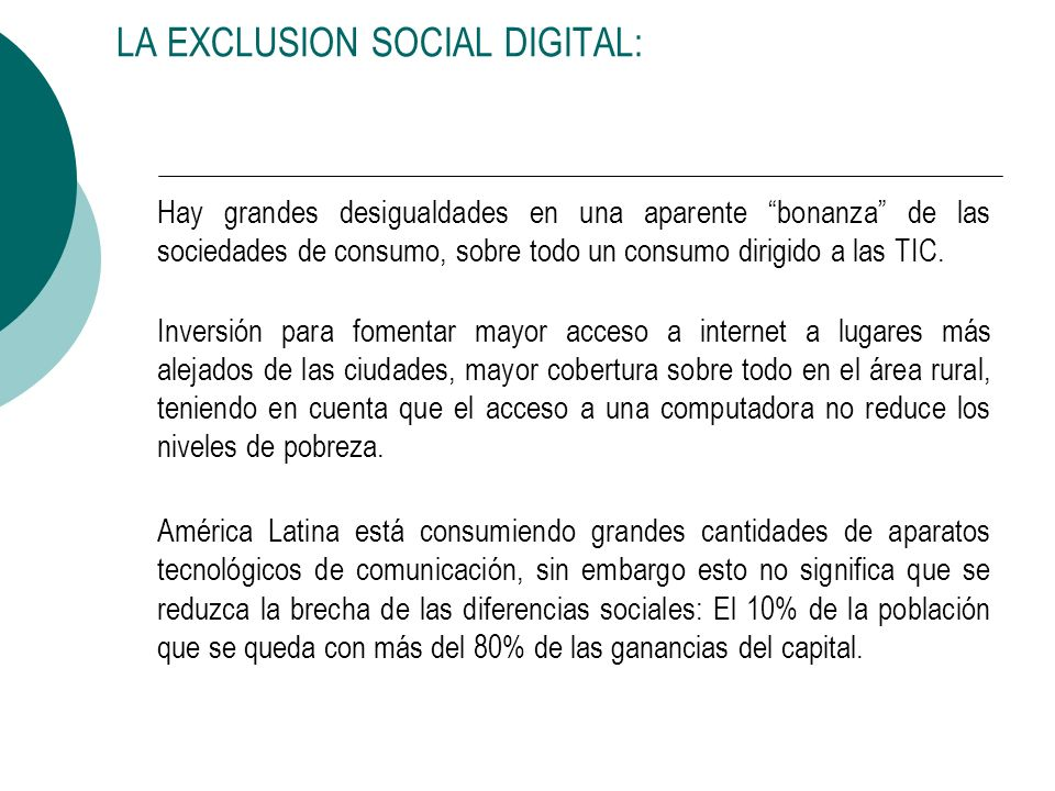 LA EXCLUSION SOCIAL DIGITAL:
