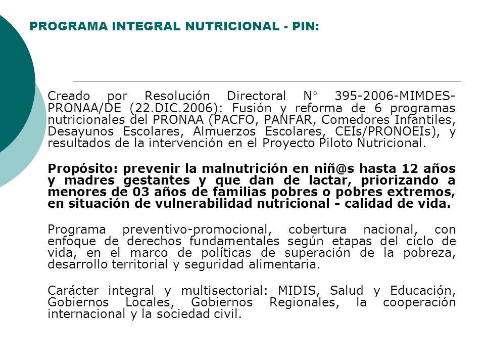 PROGRAMA INTEGRAL NUTRICIONAL - PIN: