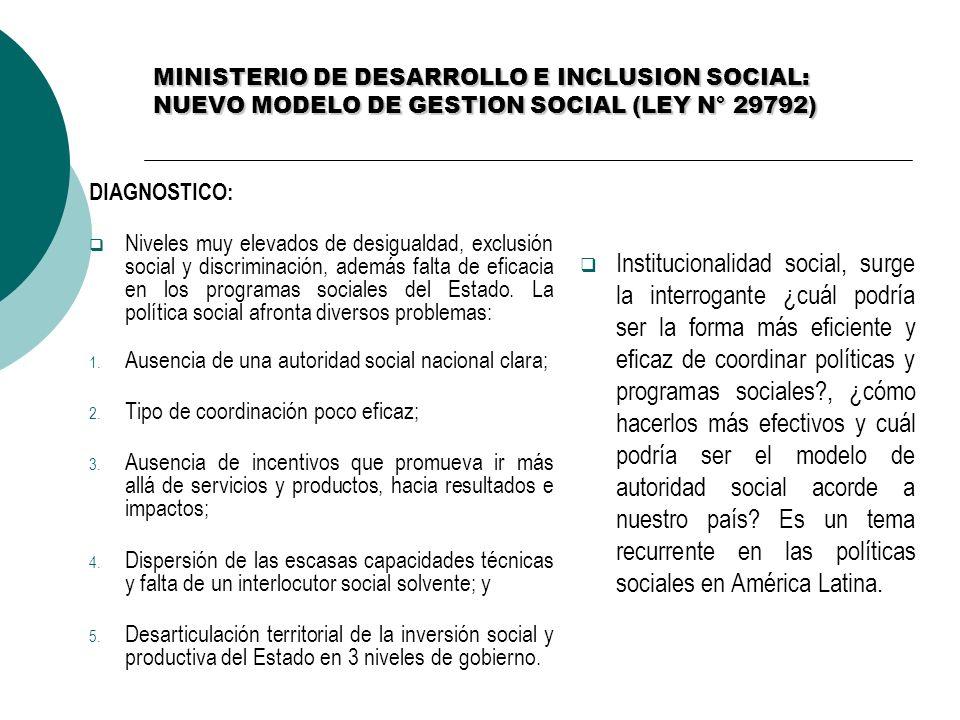 MINISTERIO DE DESARROLLO E INCLUSION SOCIAL: NUEVO MODELO DE GESTION SOCIAL (LEY N° 29792)