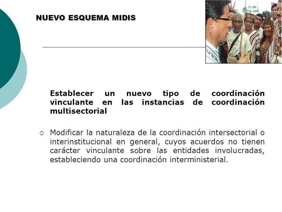 NUEVO ESQUEMA MIDIS Establecer un nuevo tipo de coordinación vinculante en las instancias de coordinación multisectorial.