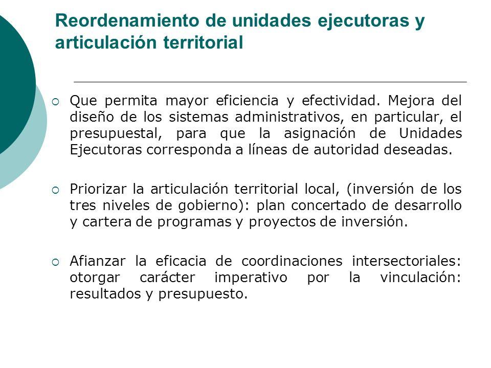 Reordenamiento de unidades ejecutoras y articulación territorial