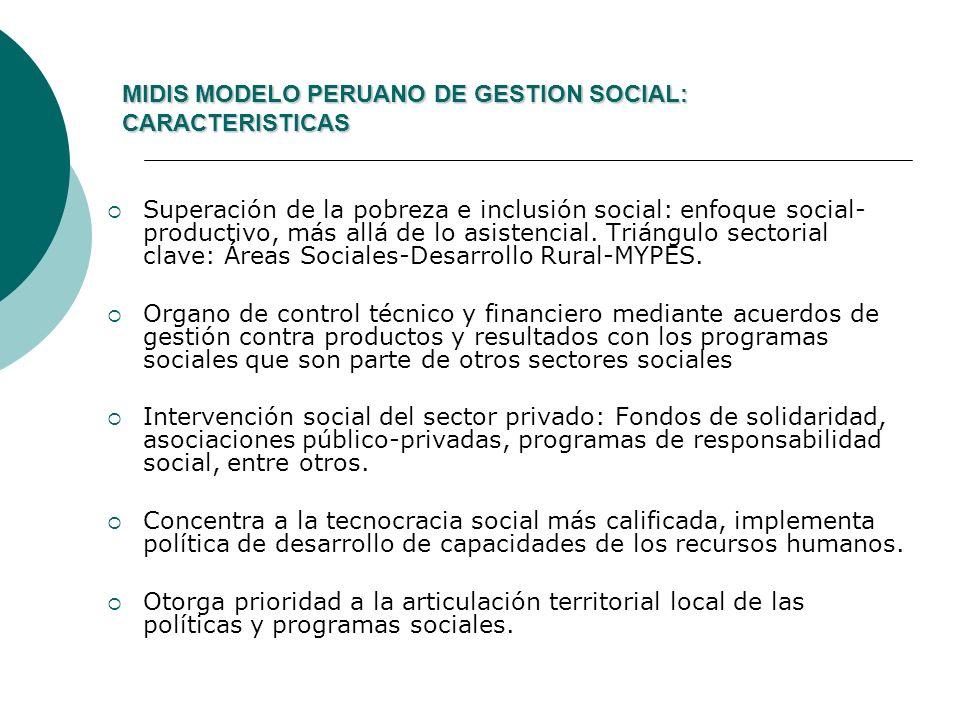 MIDIS MODELO PERUANO DE GESTION SOCIAL: CARACTERISTICAS