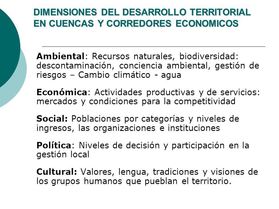 DIMENSIONES DEL DESARROLLO TERRITORIAL EN CUENCAS Y CORREDORES ECONOMICOS