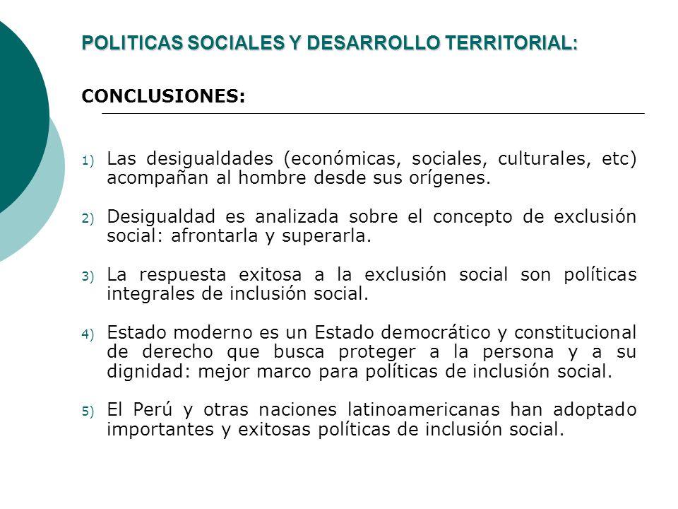 POLITICAS SOCIALES Y DESARROLLO TERRITORIAL: