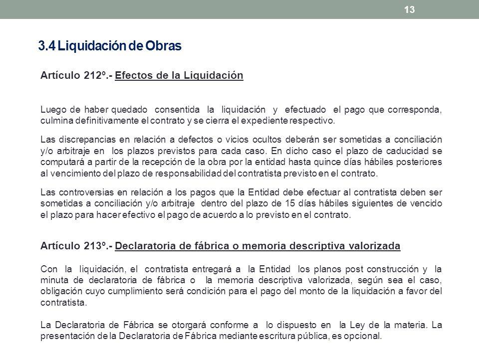 3.4 Liquidación de Obras Artículo 212º.- Efectos de la Liquidación