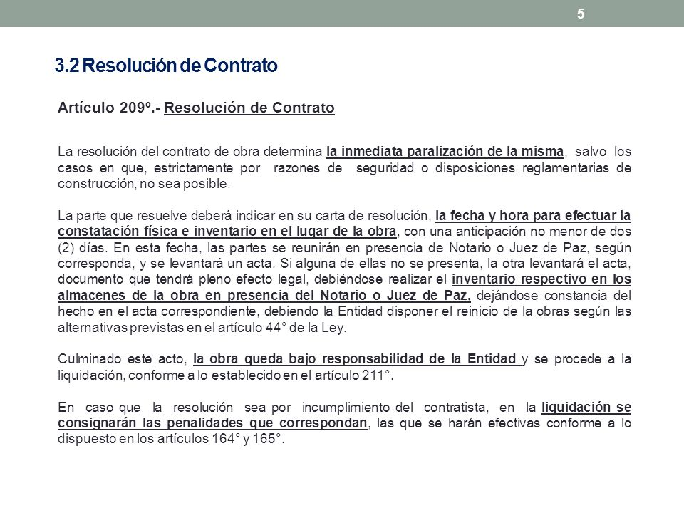 3.2 Resolución de Contrato