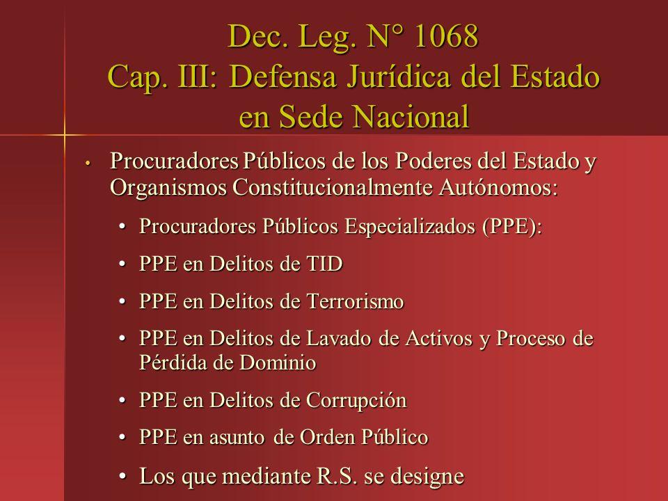 Dec. Leg. N° 1068 Cap. III: Defensa Jurídica del Estado en Sede Nacional