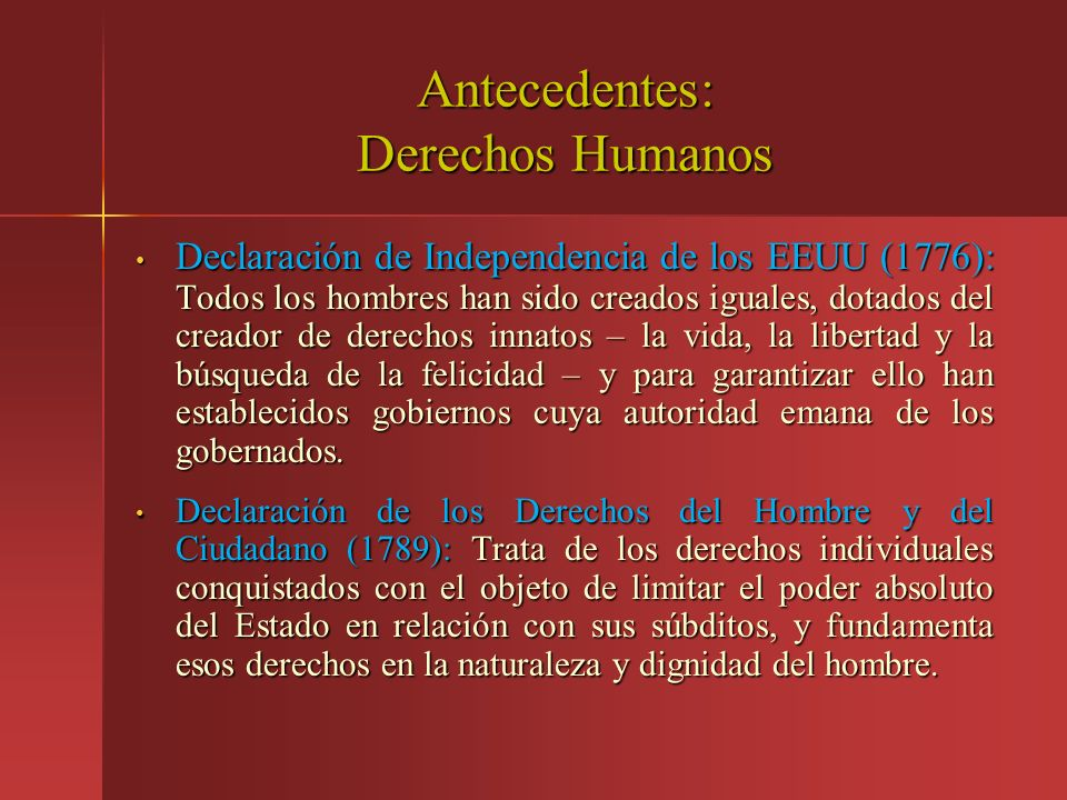 Antecedentes: Derechos Humanos