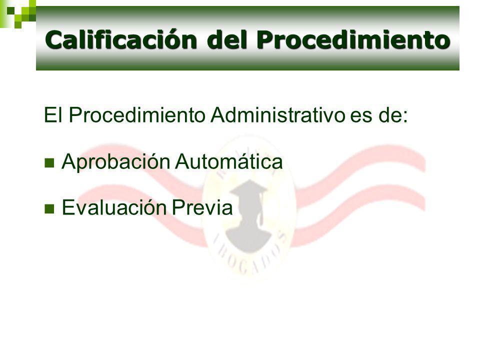 Calificación del Procedimiento
