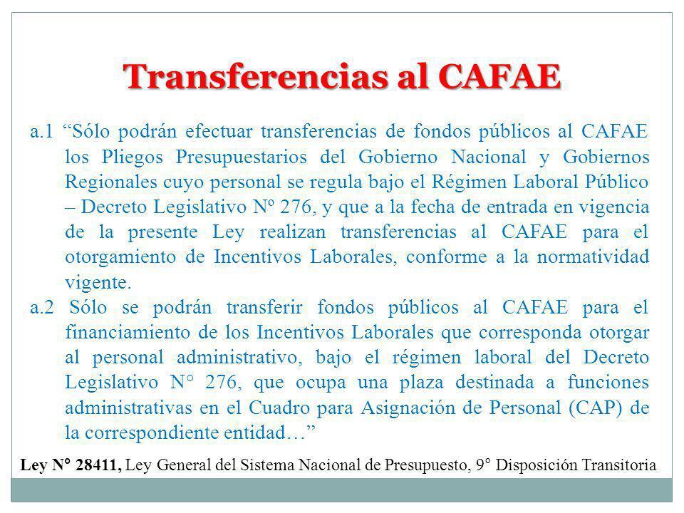 Transferencias al CAFAE