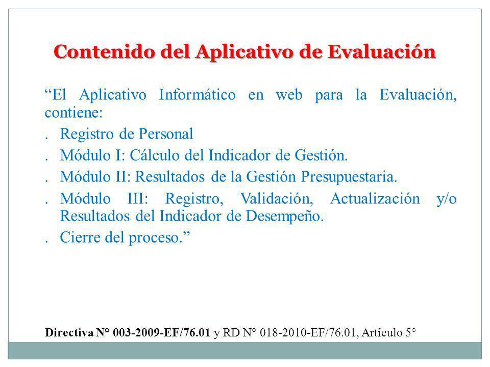 Contenido del Aplicativo de Evaluación