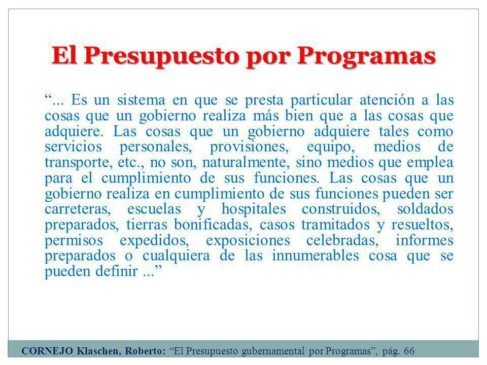 El Presupuesto por Programas