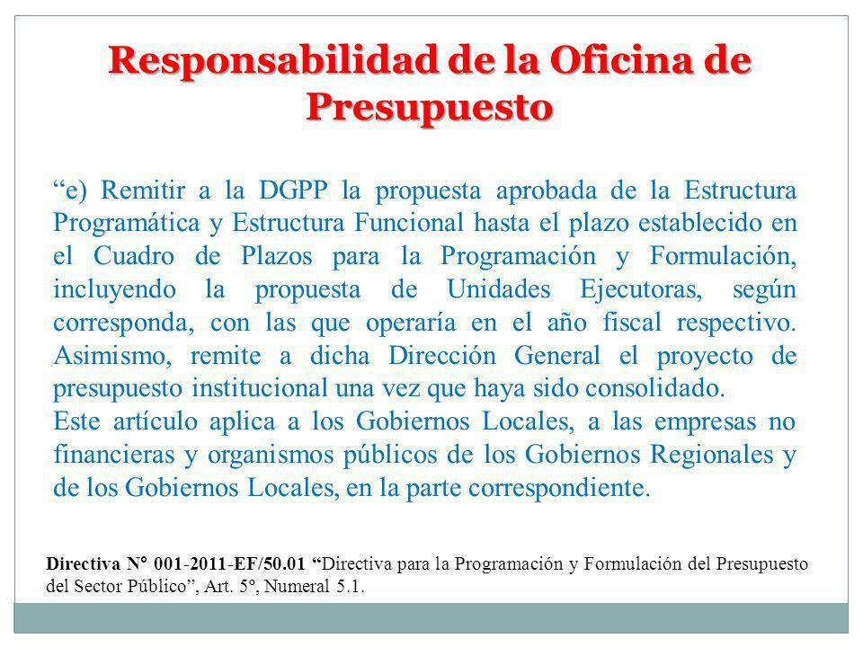 Responsabilidad de la Oficina de Presupuesto