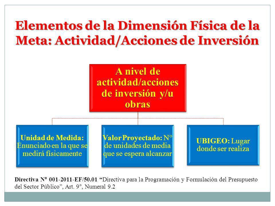 A nivel de actividad/acciones de inversión y/u obras