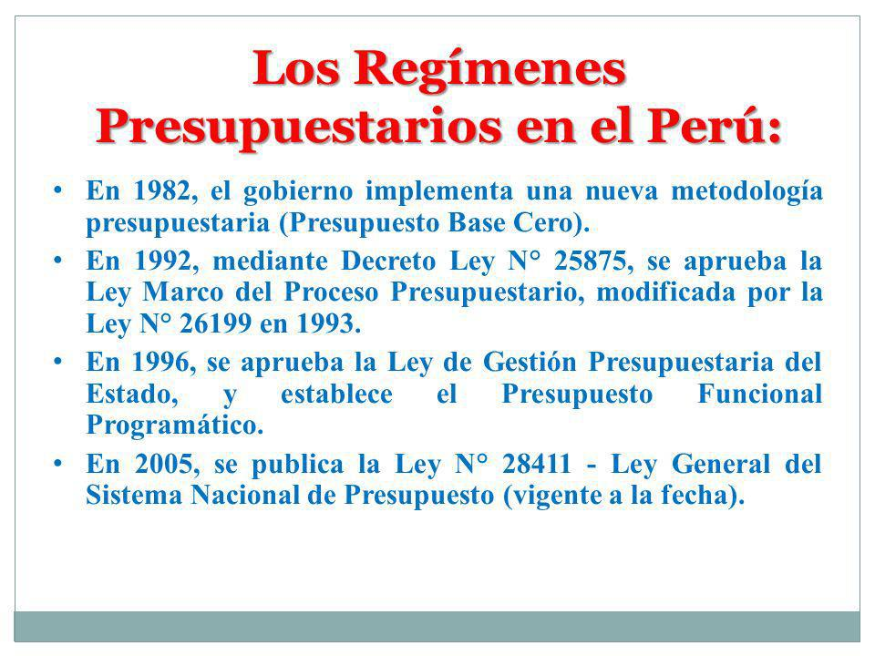 Los Regímenes Presupuestarios en el Perú: