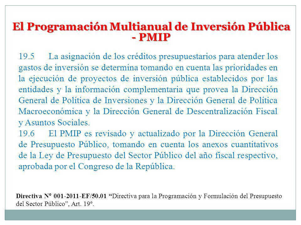 El Programación Multianual de Inversión Pública - PMIP