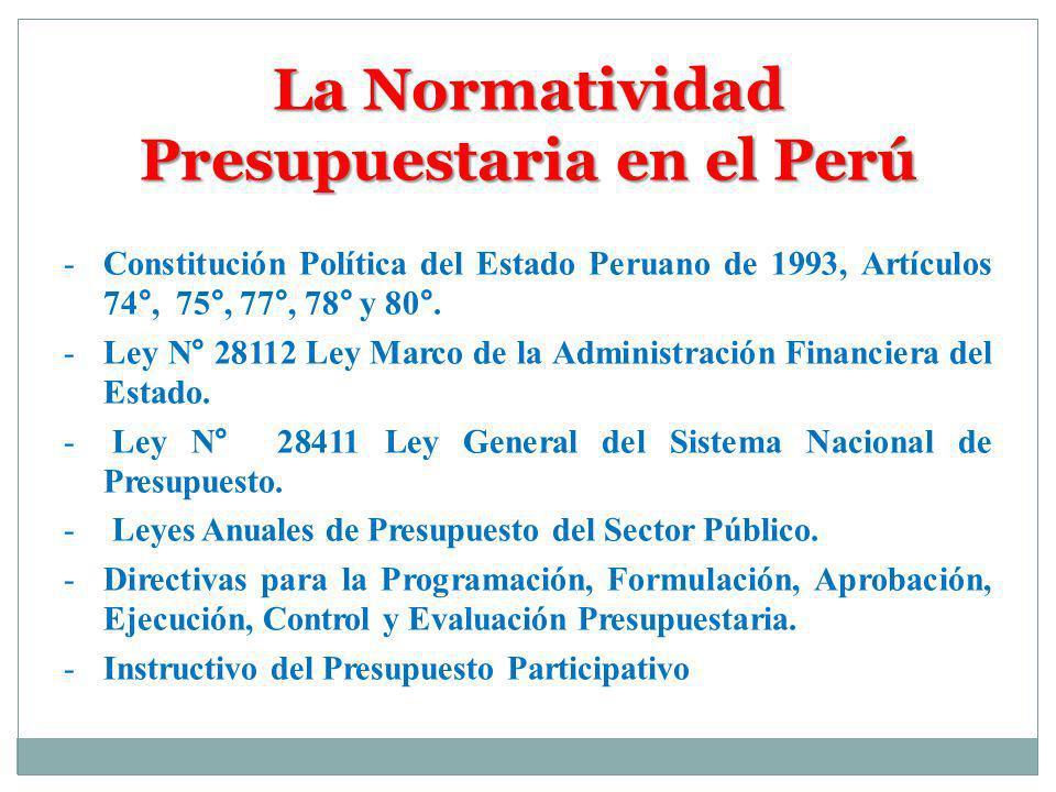 La Normatividad Presupuestaria en el Perú