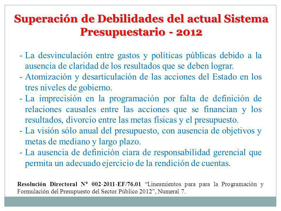 Superación de Debilidades del actual Sistema Presupuestario - 2012