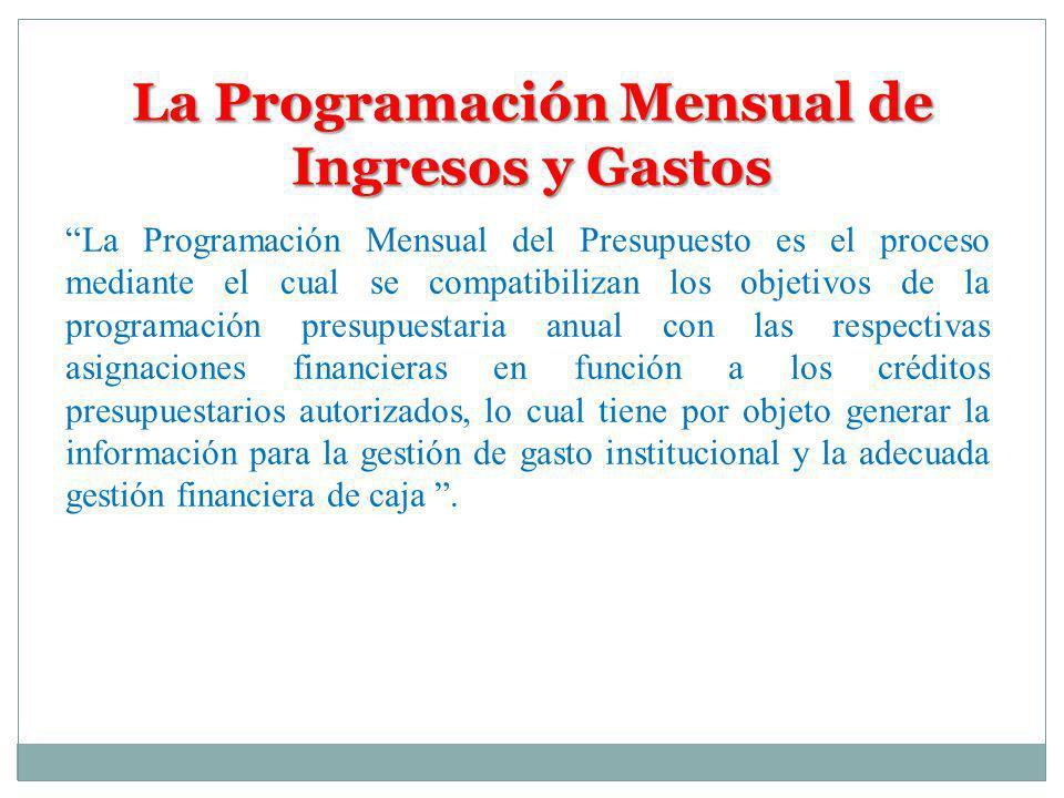 La Programación Mensual de Ingresos y Gastos