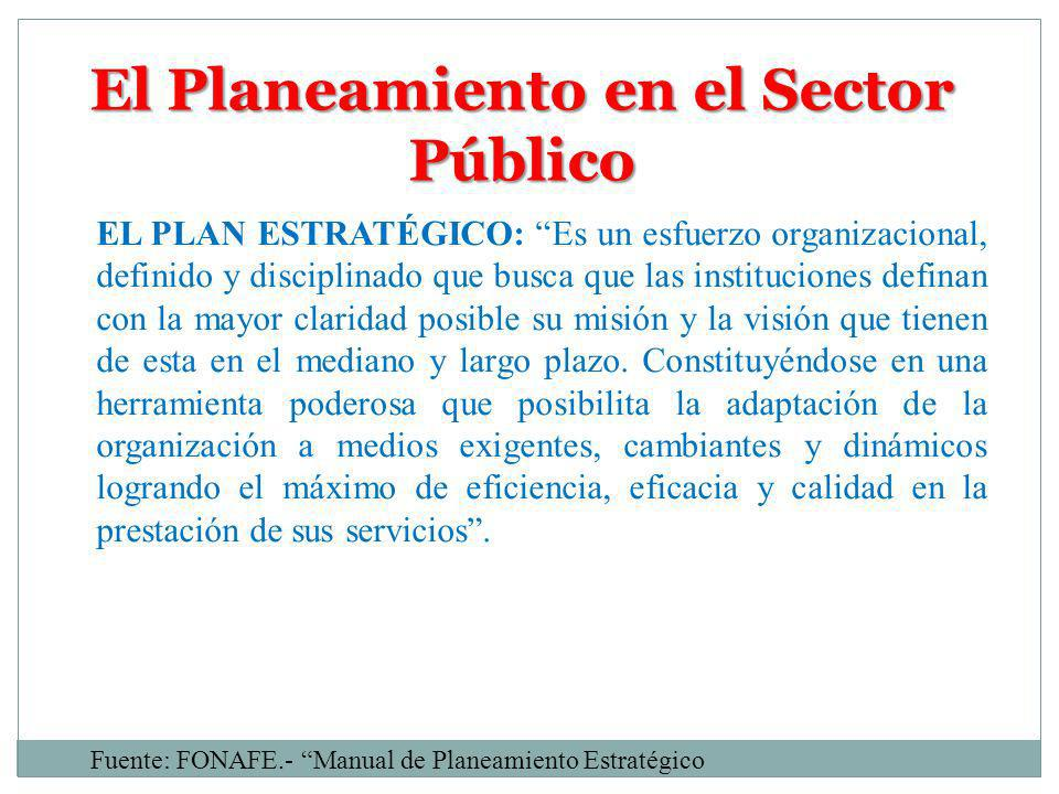 El Planeamiento en el Sector Público