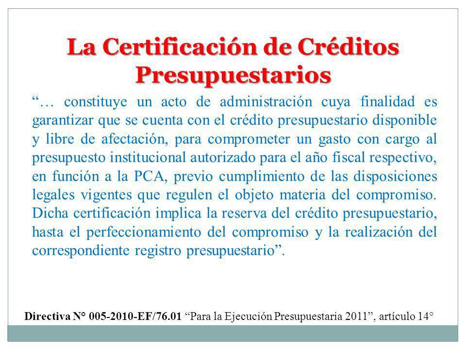 La Certificación de Créditos Presupuestarios