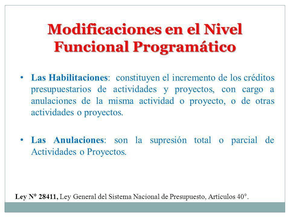 Modificaciones en el Nivel Funcional Programático