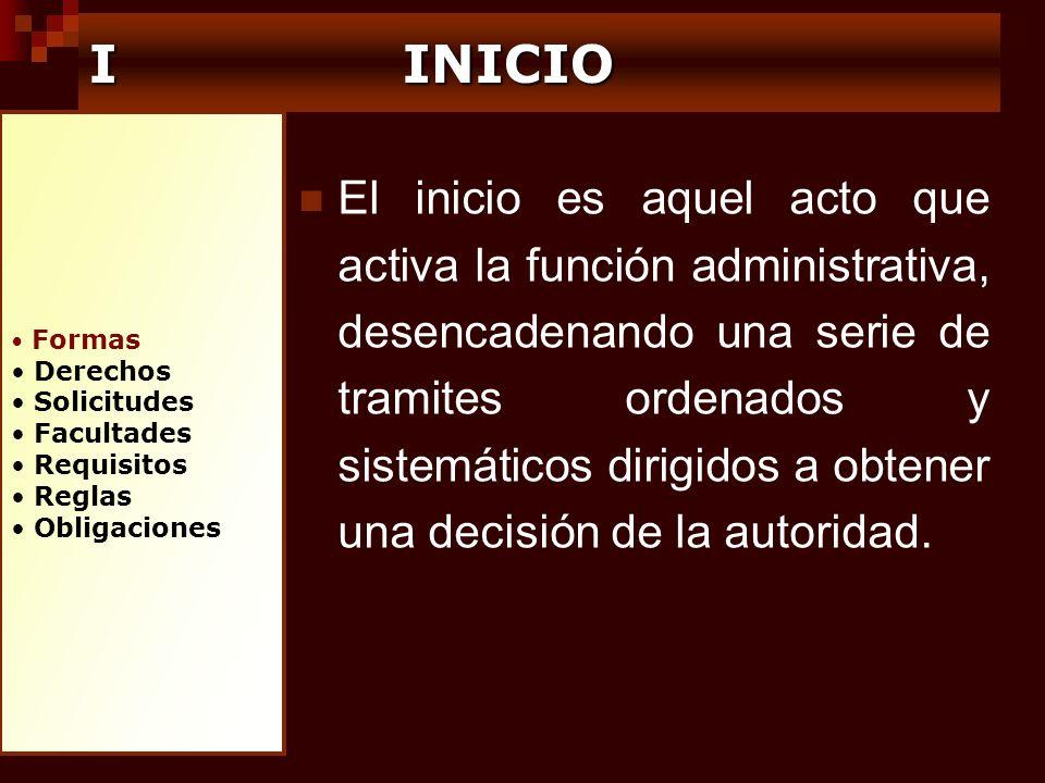 I INICIO Formas. Derechos. Solicitudes. Facultades. Requisitos. Reglas. Obligaciones.