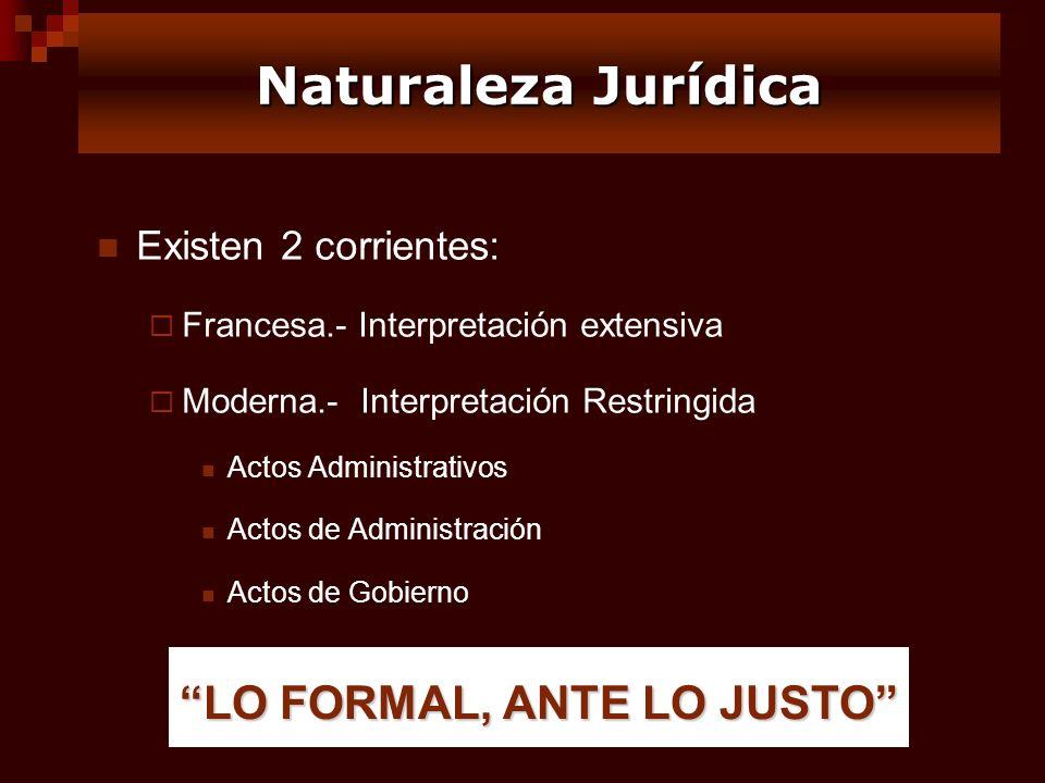 Naturaleza Jurídica LO FORMAL, ANTE LO JUSTO Existen 2 corrientes: