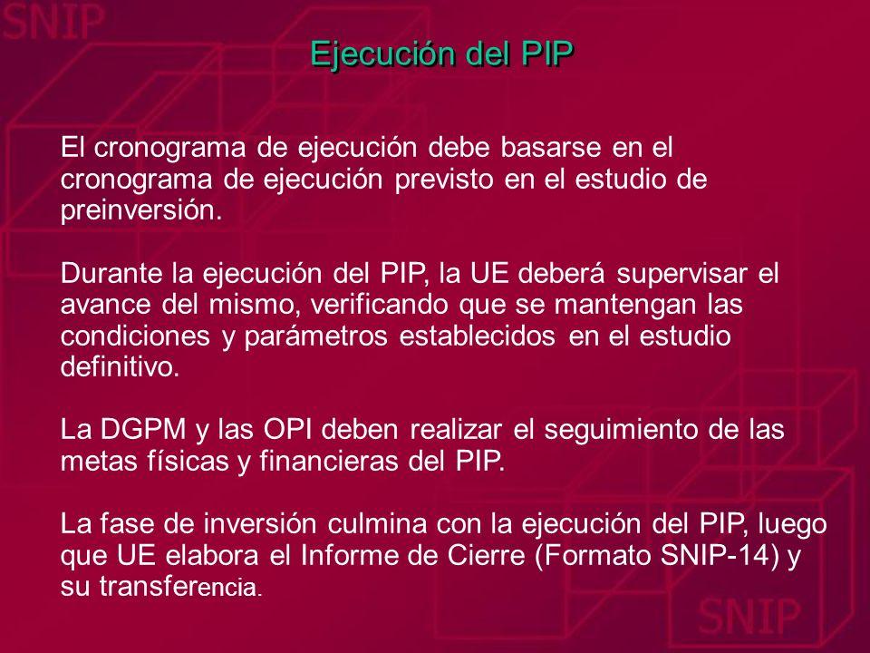 Ejecución del PIPEl cronograma de ejecución debe basarse en el cronograma de ejecución previsto en el estudio de preinversión.