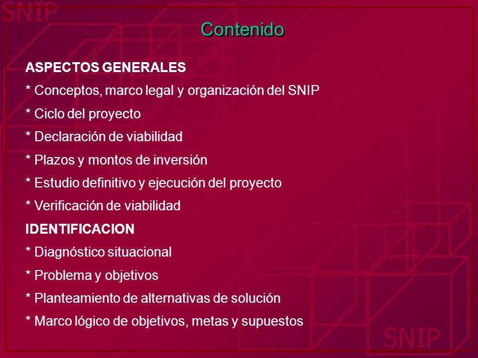 Contenido ASPECTOS GENERALES