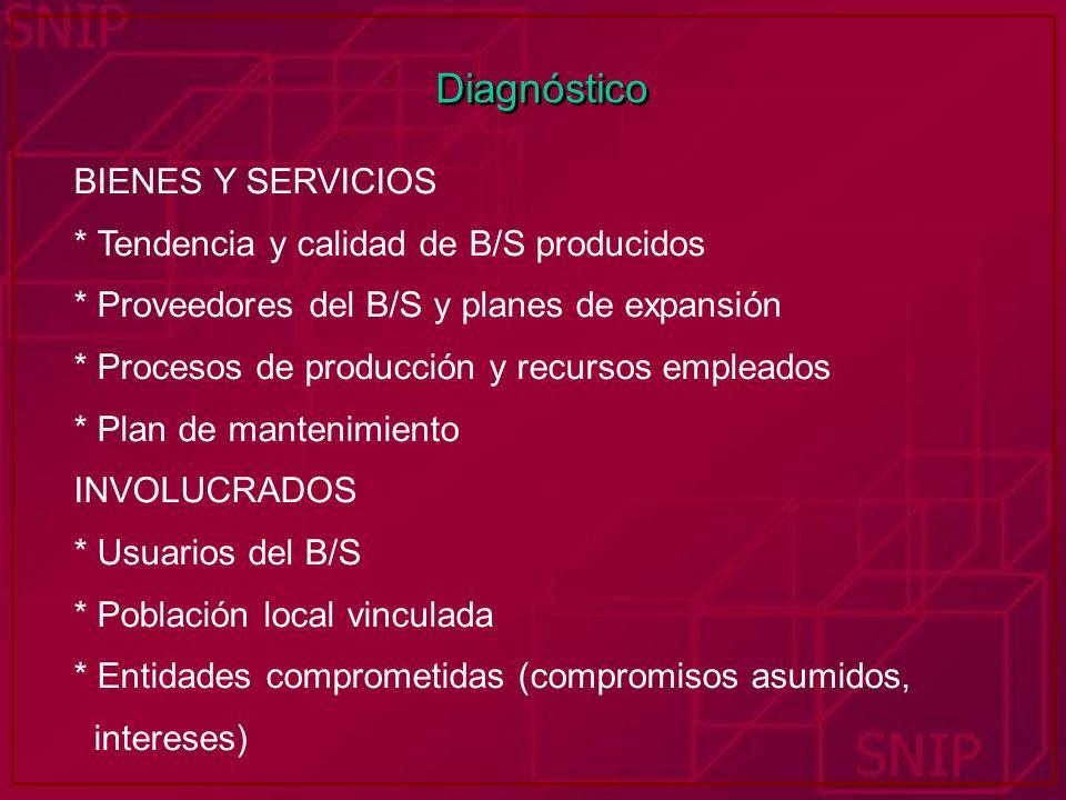 Diagnóstico BIENES Y SERVICIOS * Tendencia y calidad de B/S producidos