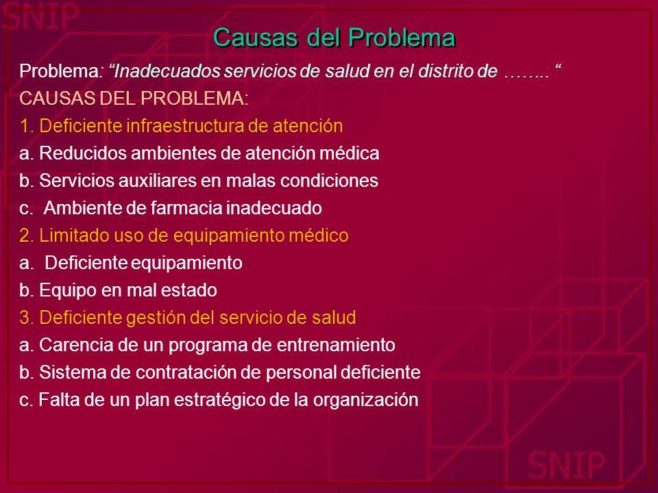 Causas del Problema Problema: Inadecuados servicios de salud en el distrito de …….. CAUSAS DEL PROBLEMA: