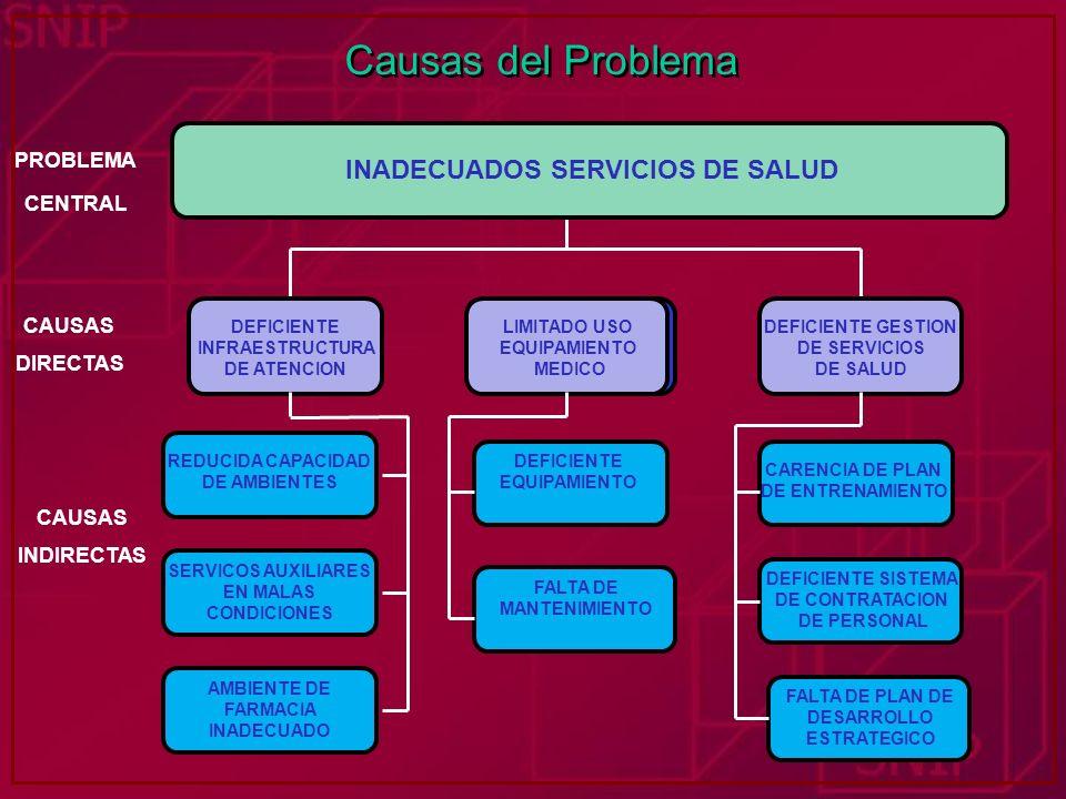 Causas del Problema INADECUADOS SERVICIOS TURISTICOS