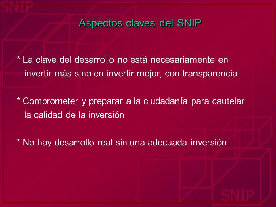 Aspectos claves del SNIP