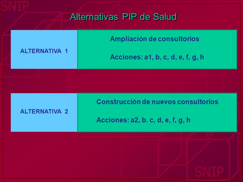 Alternativas PIP de Salud